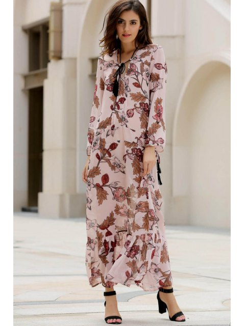 lady Printed Plunging Neck Long Sleeve Maxi Dress - PINK M Mobile