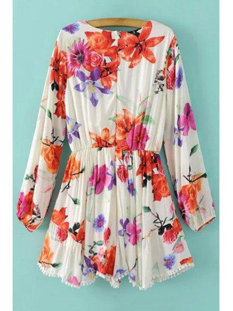 shops Plunging Neck Floral Print Long Sleeve Romper - WHITE S Mobile