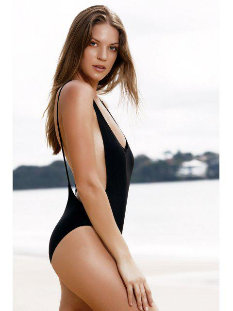 Maillot de bain monokini une-pièce dos nu avec découpe haute - Noir L Mobile