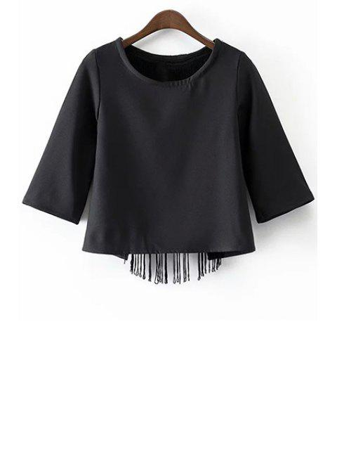 unique Black Tassels Cut Out Round Neck Half Sleeve T-Shirt - BLACK M Mobile