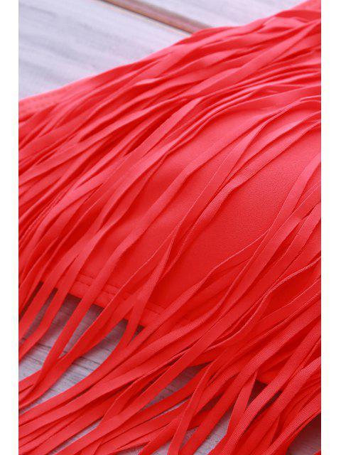 outfits Spaghetti Strap Fringe Splicing Zig Zag Bikini Set - RED M Mobile