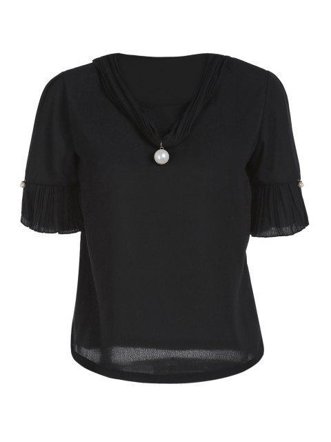Manga de la perla embellecido V del cortocircuito del cuello de la camiseta - Negro Un tamaño(Montar tam Mobile