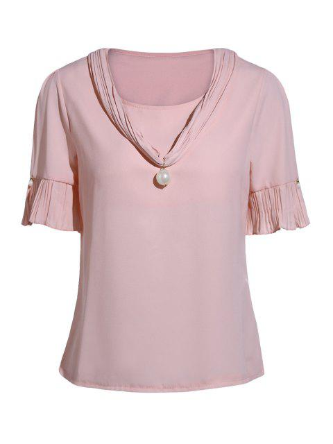 lady Pearl Embellished V Neck Short Sleeve T-Shirt - PINK ONE SIZE(FIT SIZE XS TO M) Mobile