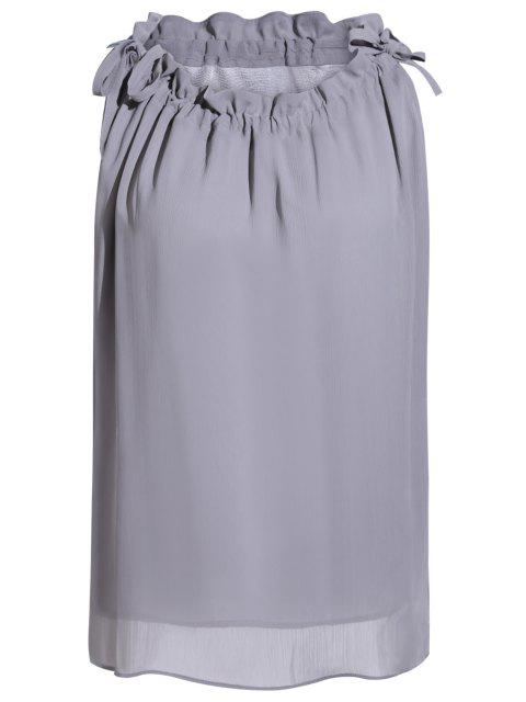 chic Pure Color Round Neck Sleeveless Blouse - GRAY ONE SIZE(FIT SIZE XS TO M) Mobile