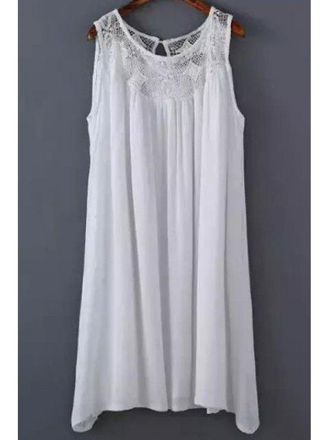 affordable White Lace Splicing Round Neck Sleeveless Dress - WHITE L Mobile