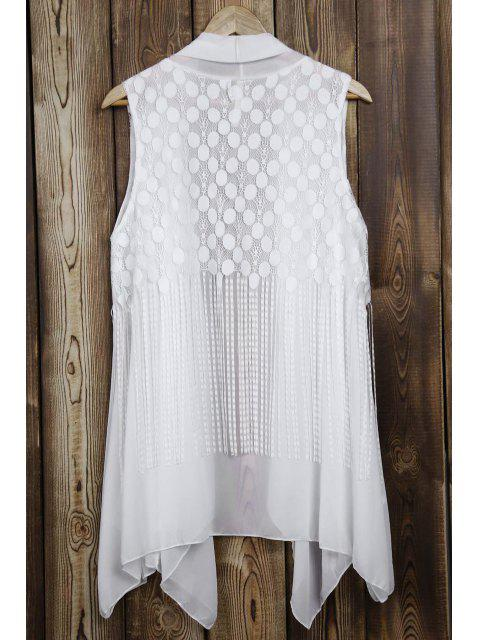 women Lace Splice Tassels Turn Down Collar Waistcoat - WHITE ONE SIZE(FIT SIZE XS TO M) Mobile