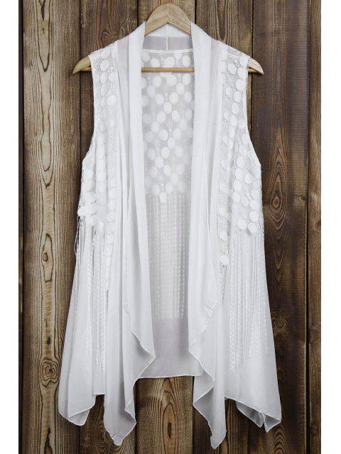 Lace Splice Glands Turn Down Collar Waistcoat - Blanc Taille Unique(S'adap Mobile
