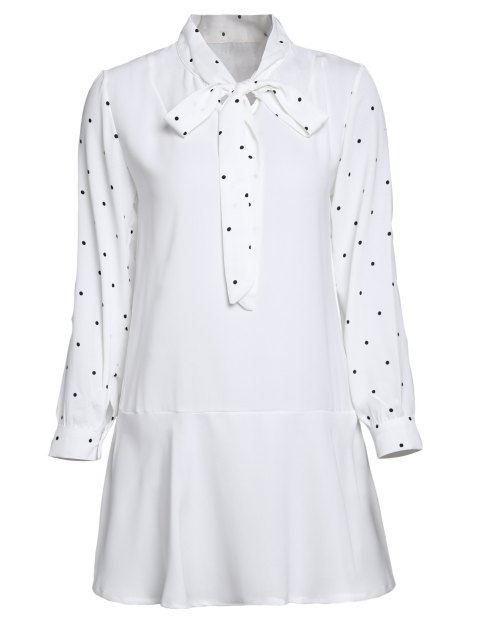 womens Polka Dot Self Tie Long Sleeve Dress - WHITE ONE SIZE(FIT SIZE XS TO M) Mobile