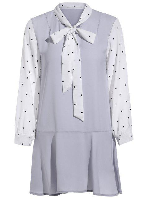 sale Polka Dot Self Tie Long Sleeve Dress - PURPLE ONE SIZE(FIT SIZE XS TO M) Mobile