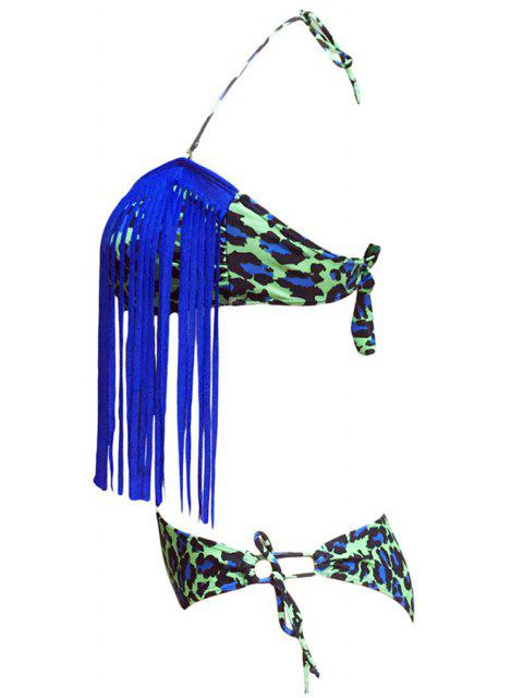 new Leopard Print Halter Tassels Spliced Bikini Set - BLUE M Mobile