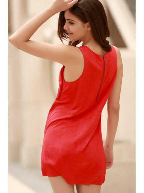 women Red Faux Suede Plunging Neck Sleeveless Dress - RED L Mobile