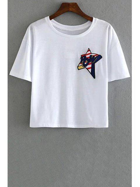 Manga de la estrella del bordado cuello redondo manga corta de la camiseta - Blanco S Mobile