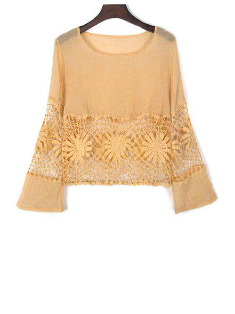 hot Lace Spliced Cut Out Round Neck Flare Sleeve Blouse - YELLOW S Mobile