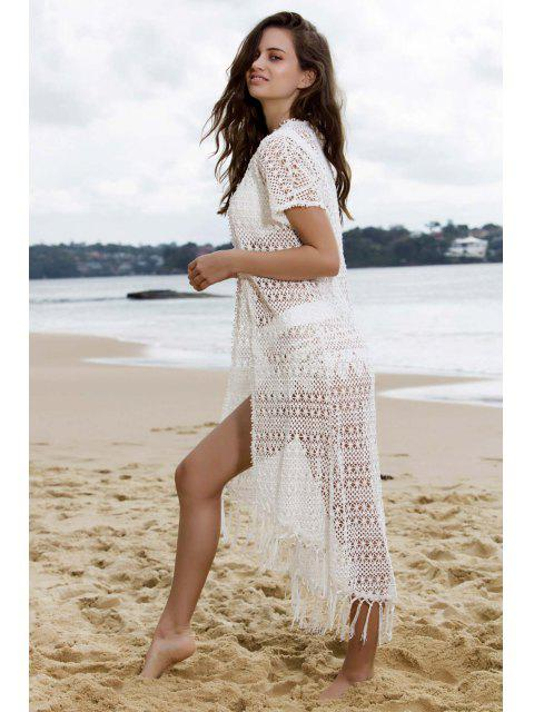 chic Tassels White Long Cover-Up - WHITE M Mobile