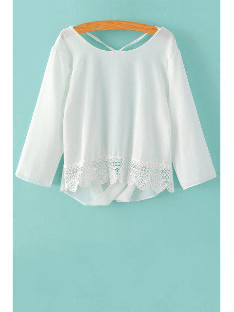 fashion Back Cut Out 3/4 Sleeve Lace Spliced Blouse - WHITE S Mobile