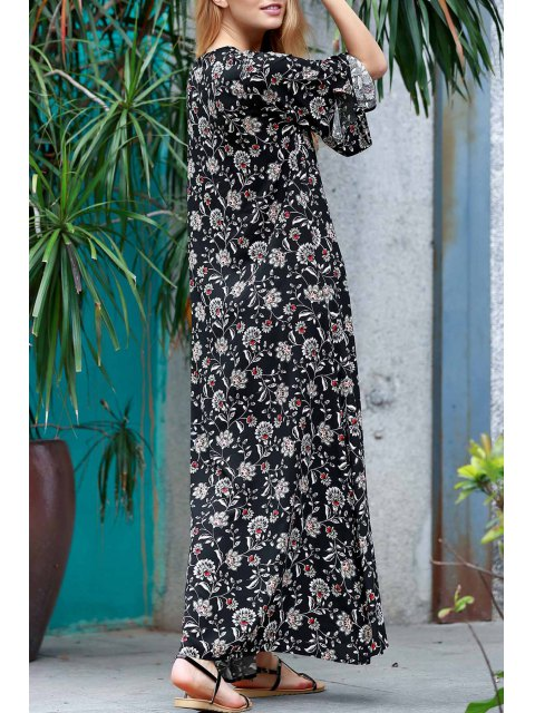 fancy Allover Floral Print Maxi Dress - BLACK M Mobile
