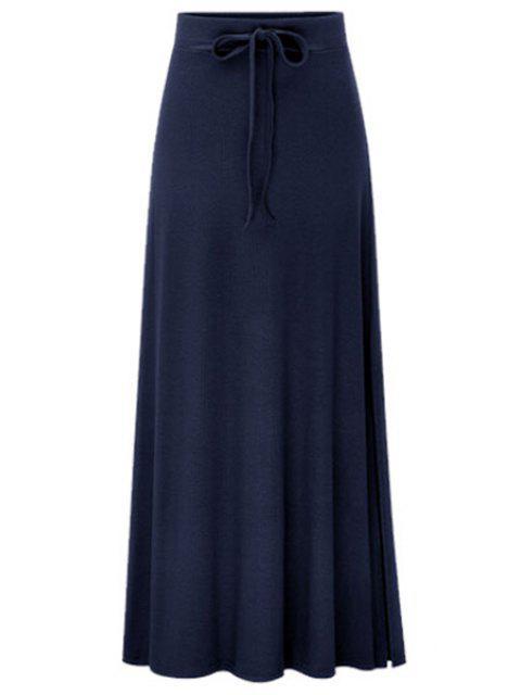 Side Vent Solide Couleur Jupe longue - Bleu Foncé L Mobile