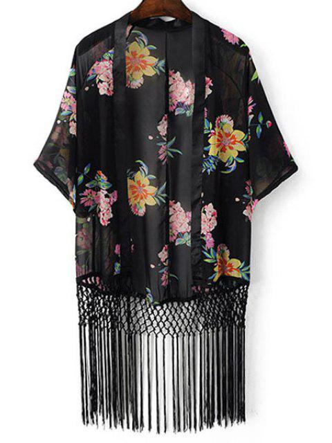 Impresión floral de la manga del Batwing de las borlas de la blusa empalmado - Negro M Mobile