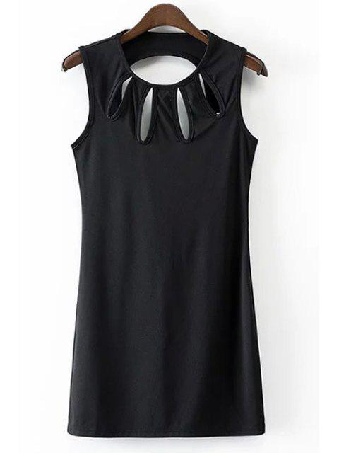 hot Solid Color Hollow Out Jewel Neck Sleeveless Dress - BLACK S Mobile
