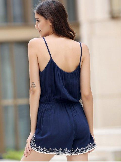 fancy Casual Spaghetti Strap Sleeveless Embroidery Elastic Waist Romper For Women - PURPLISH BLUE S Mobile