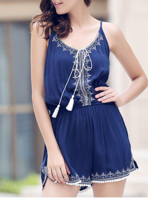 unique Casual Spaghetti Strap Sleeveless Embroidery Elastic Waist Romper For Women - PURPLISH BLUE M Mobile