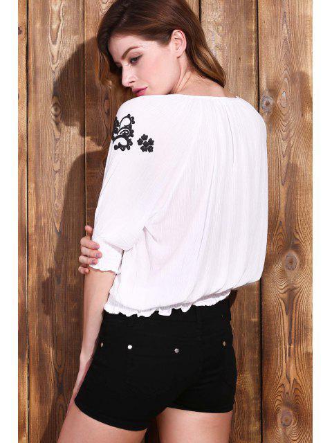 online Embroidered Elastic Hem White Top - WHITE S Mobile