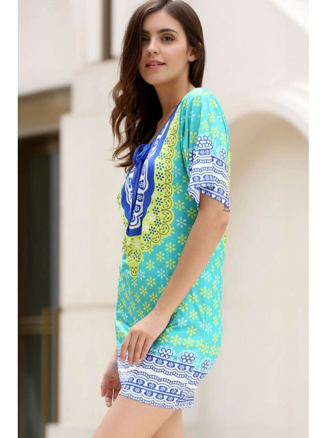 online Flower Print Plunging Neck Bat-Wing Sleeve Dress - GREEN ONE SIZE(FIT SIZE XS TO M) Mobile