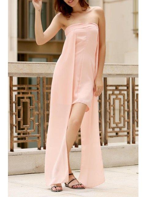 Asimétrica pecho envuelto vestido del color sólido - Rosa M Mobile