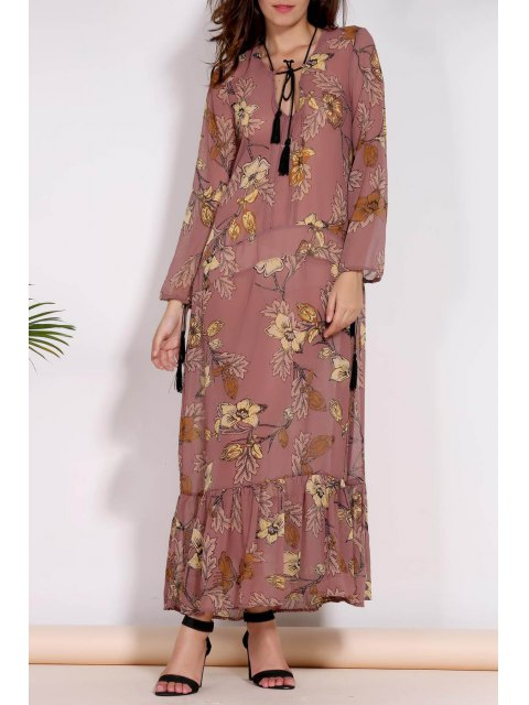 women's Printed Plunging Neck Long Sleeve Maxi Dress - BROWN L Mobile