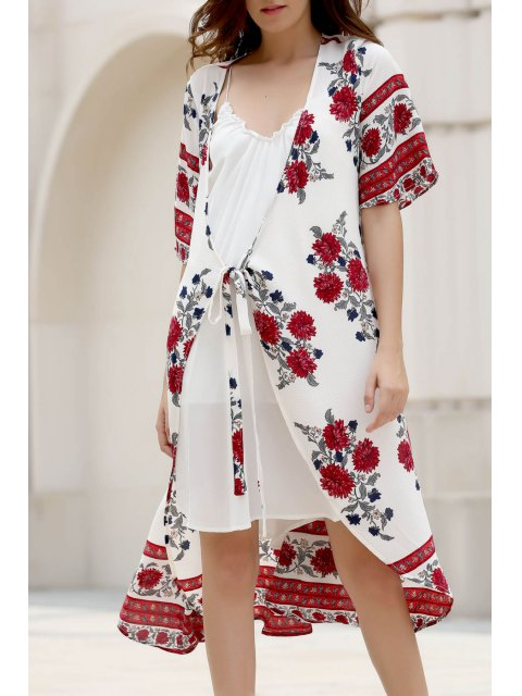 Floral Print Plongeant Neck Half Robe en mousseline de soie à manches - Blanc L Mobile