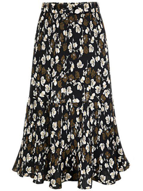 online A-Line Pleated Full Floral Skirt - BLACK 2XL Mobile