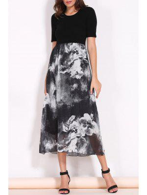 Printed Round Collar Short Sleeve Spliced Dress - Black M
