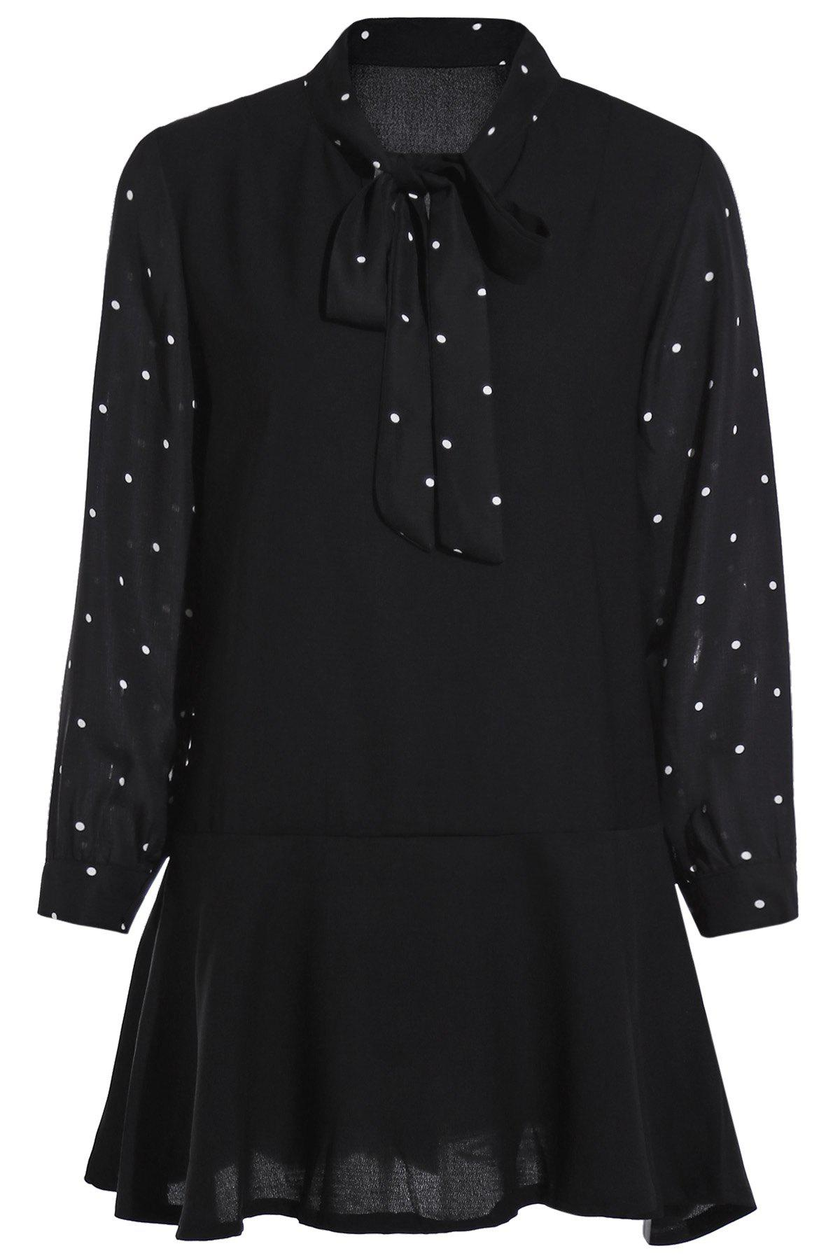 Polka Dot Self Tie Long Sleeve Dress - BLACK ONE SIZE(FIT SIZE XS TO M)