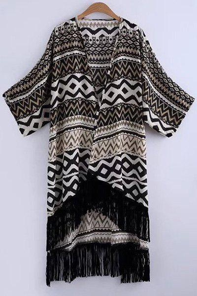 Retro Geometric Print Collarless Bat-Wing Sleeve Blouse - BLACK ONE SIZE(FIT SIZE XS TO M)