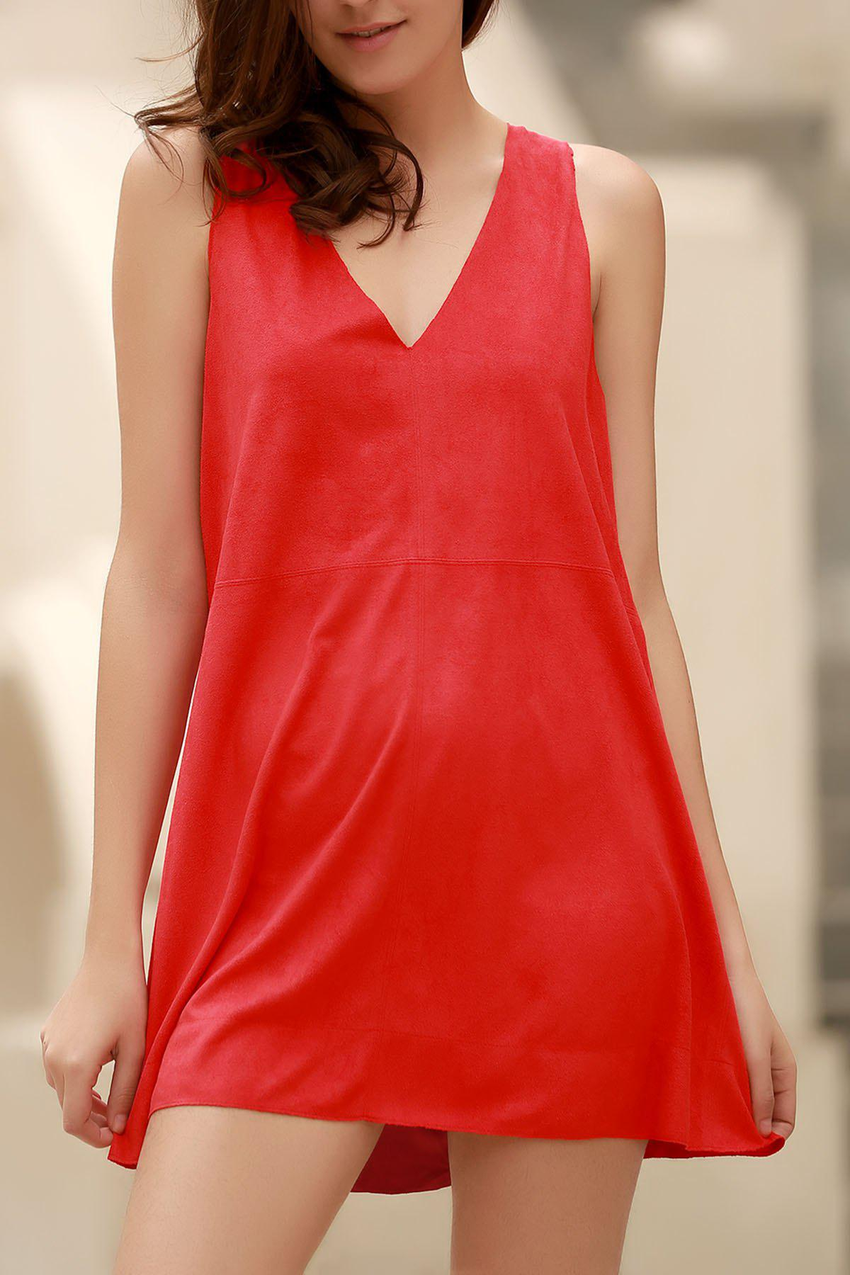 Red Faux Suede Plunging Neck Sleeveless Dress 171792901