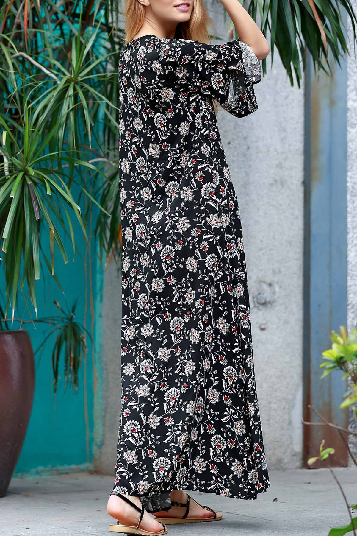 Allover Floral Print Maxi Dress