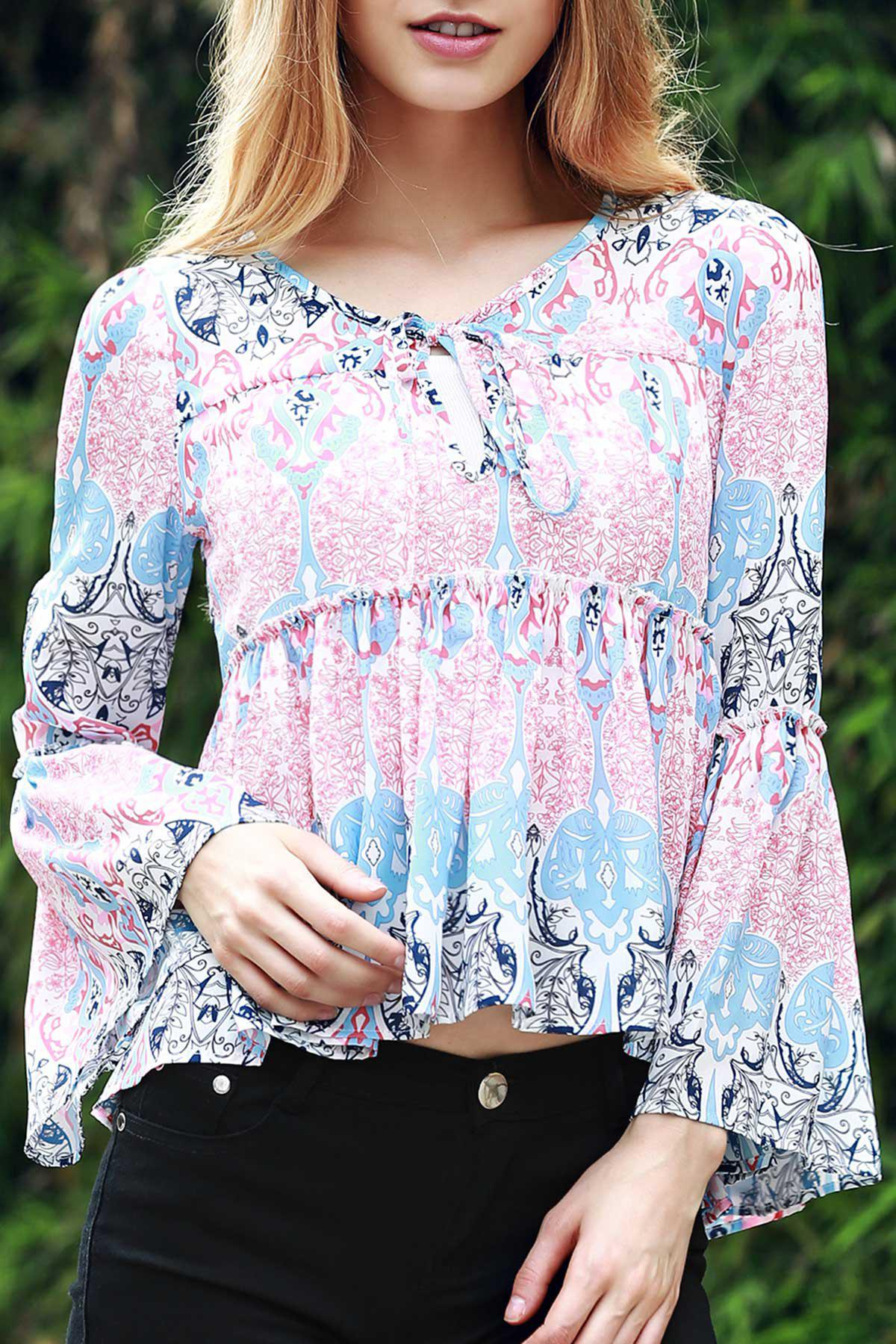 Bell Sleeve Printed Trapeze Top