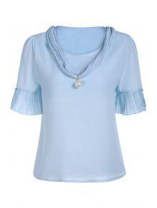 Pearl Embellished V Neck Short Sleeve T-Shirt - Blue