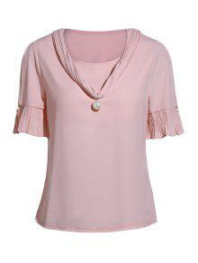 Pearl Embellished V Neck Short Sleeve T-Shirt - Pink