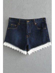 Fitted Lace Hook High Waist Denim Shorts - Deep Blue M