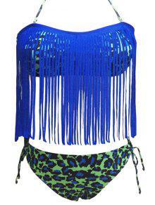 Piel De Leopardo Halter De Las Borlas Del Bikini Conjunto Empalmado - Azul 2xl