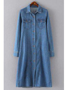 Blue Denim Turn Collar Long Sleeve Shirt Dress - BLUE L