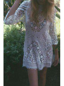 فستان تغطية ثلاثة أرباع طول الأكمام محبوك قطع شفاف - أبيض