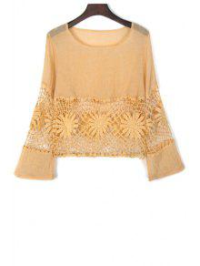Lace Spliced Cut Out Round Neck Flare Sleeve Blouse - Yellow S