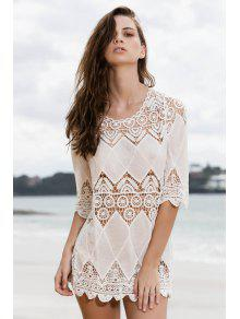 Appliqued Openwork White Cover-Up - White