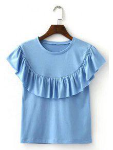 Mode Col Rond Flounce Pur T-shirt Couleur Femme - Bleu Clair S