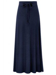 Side Vent Solid Color Long Skirt - Deep Blue L