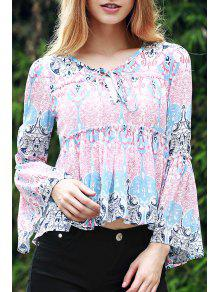 Bell Sleeve Printed Trapeze Top - Blue And Pink Xl