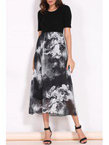 Printed Round Collar Short Sleeve Spliced Dress - Black M
