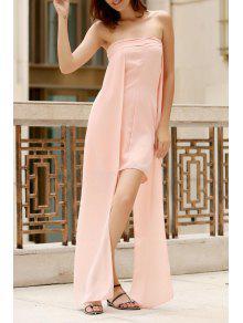 Asimétrica Pecho Envuelto Vestido Del Color Sólido - Rosa M